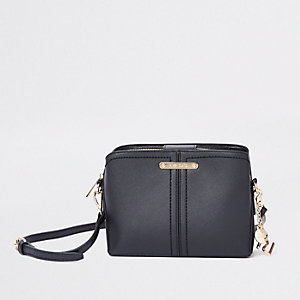 Black triple compartment bucket crossbody bag