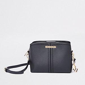 Zwarte tas met drie vakken en open bovenkant