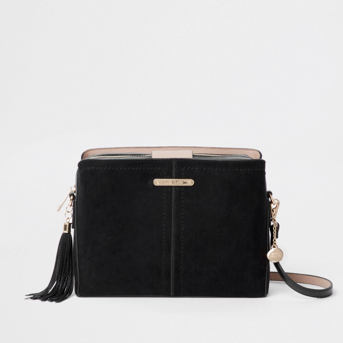 Black open top triple compartment bag