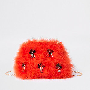 Orange feather sequin clutch chain bag