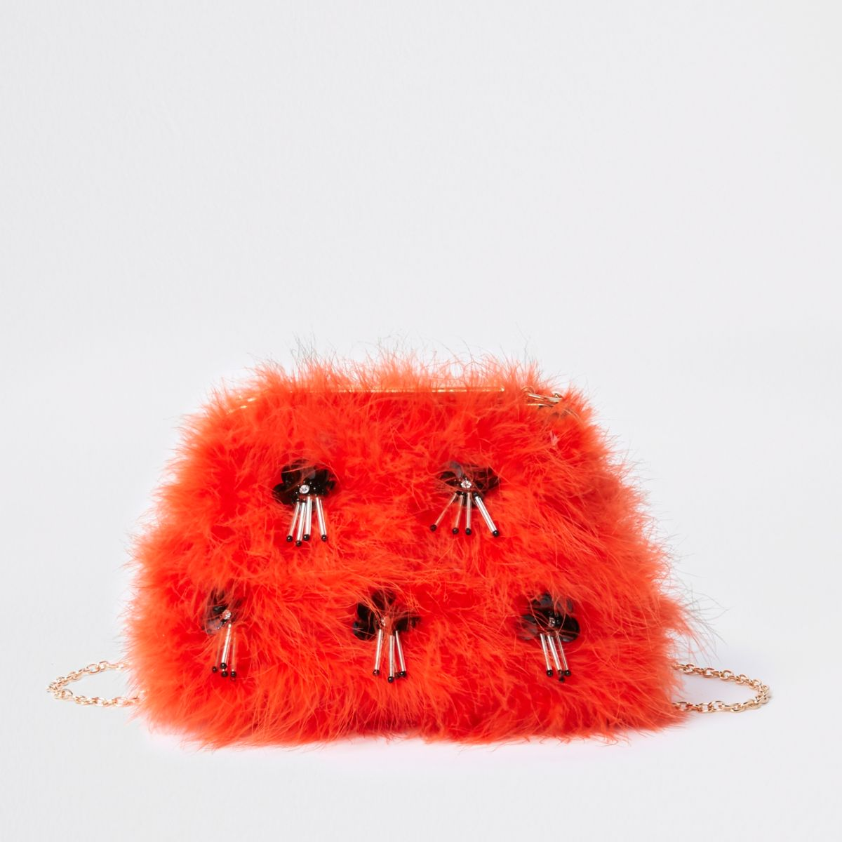 Orange feather sequin clutch chain bag