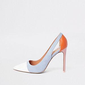 Blue colour block cut out court shoes