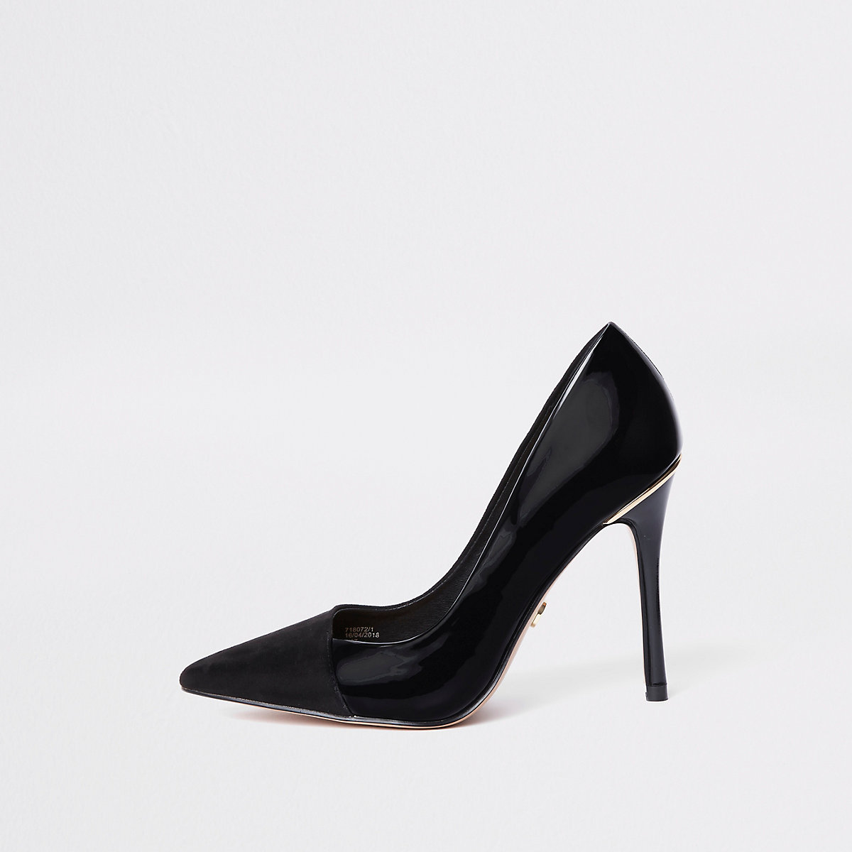 Black fold front pumps