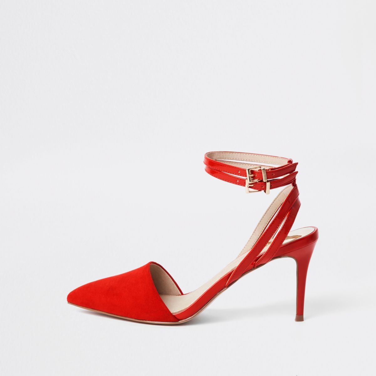 Red double buckle mid heel court shoes