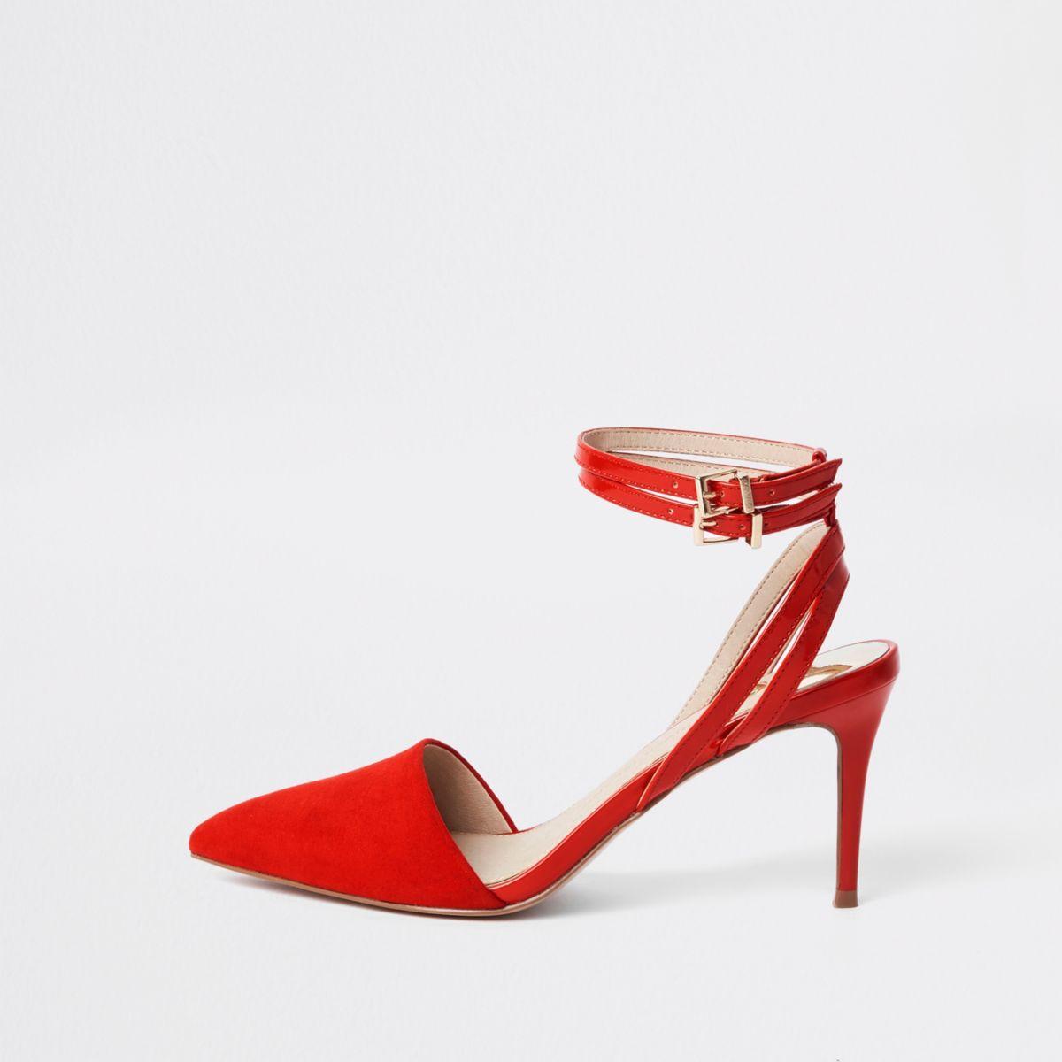 Red double buckle mid heel pumps