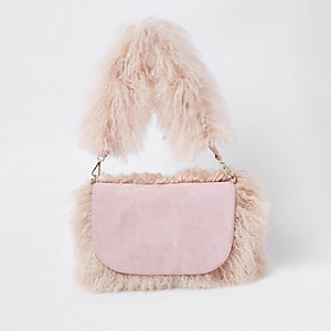 Light pink faux Mongolian shoulder bag