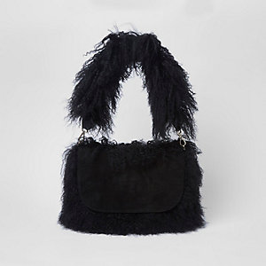 Black suede Mongolian shoulder bag