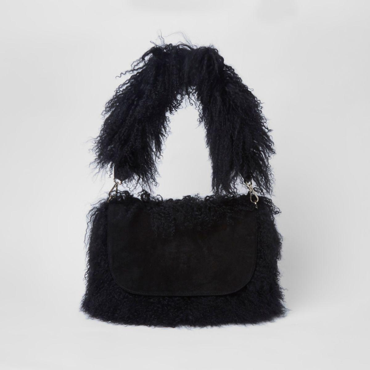 Black suede Mongolian shoulder bag