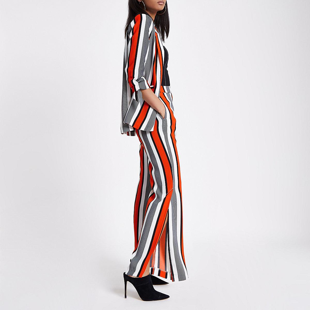 Red stripe ruched sleeve blazer