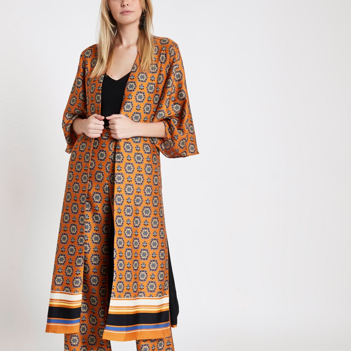 Orange print tie waist duster coat