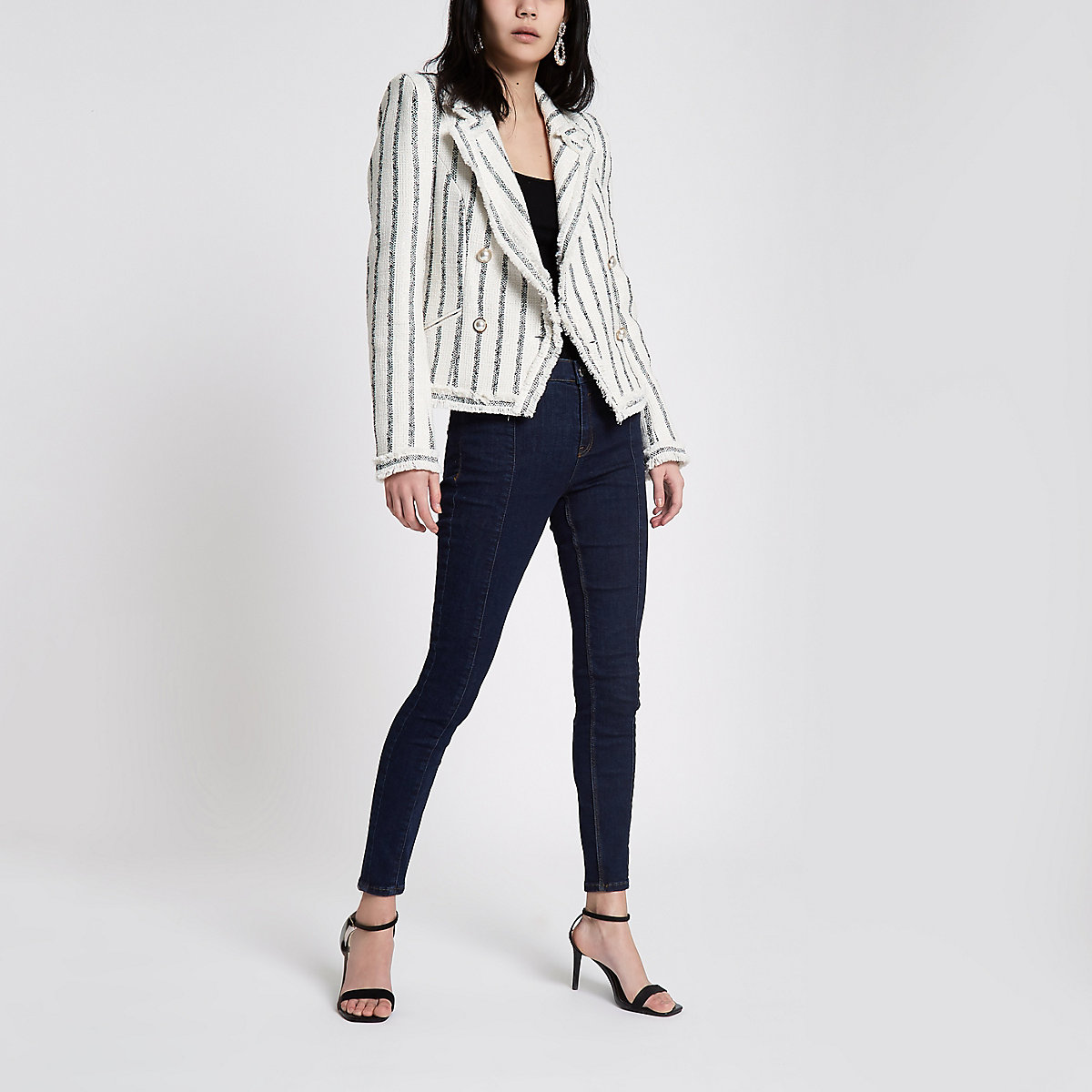 Navy stripe boucle double-breasted jacket