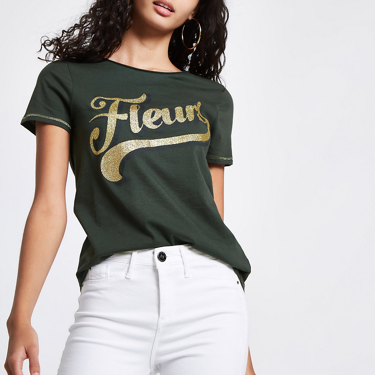Green 'fleurs' glitter print fitted T-shirt