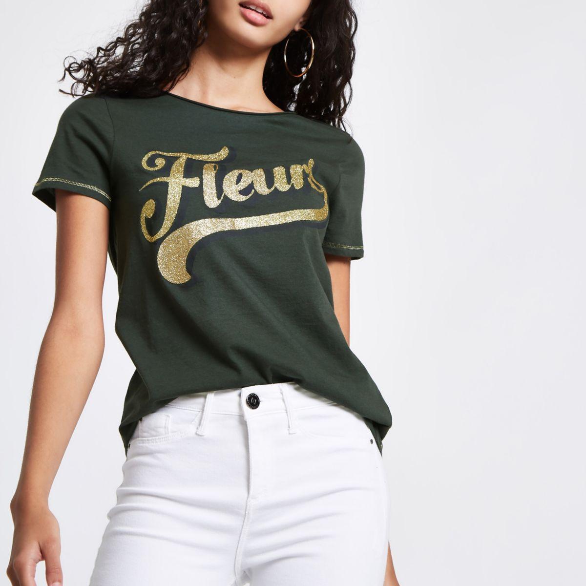 Green 'fleurs' glitter print fitted T-shirt