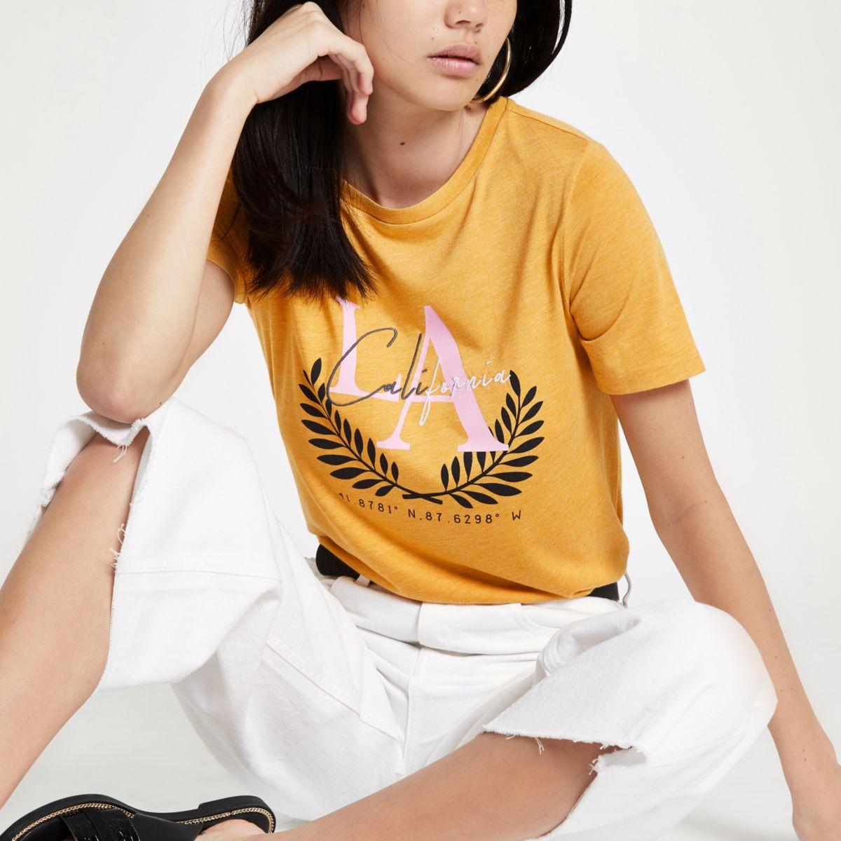 Yellow 'LA California' print T-shirt