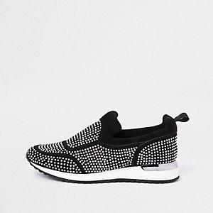 Zwarte verfraaide sneakers met pailletten