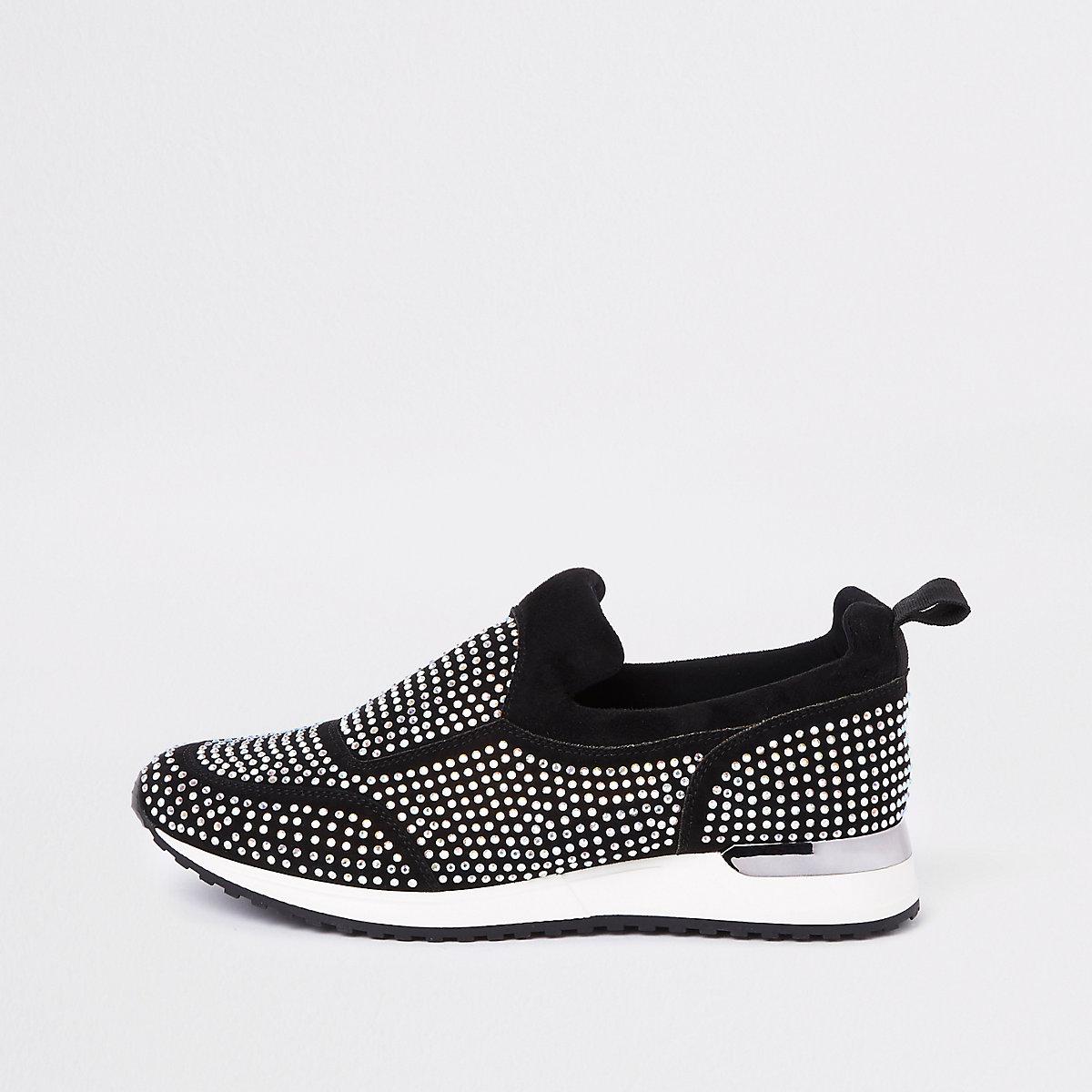 Black sequin embellished sneakers