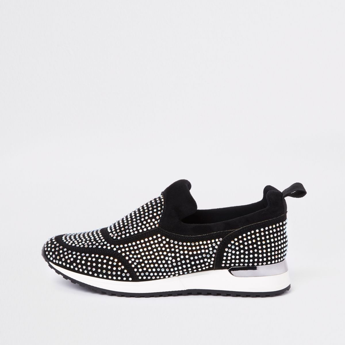 Schwarze, paillettenverzierte Sneakers