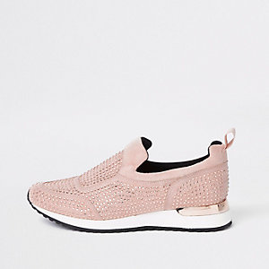 Pink sequin embellished sneakers
