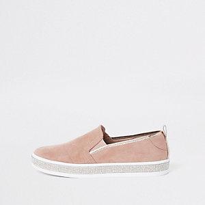 Pink rhinestone trim plimsolls