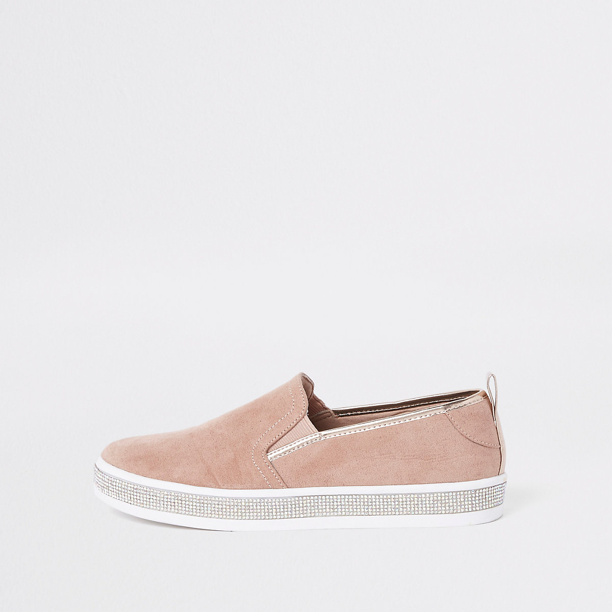 Pink diamante trim plimsolls