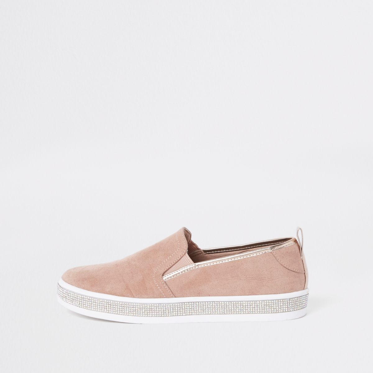 Womens Pink diamante trim plimsolls River Island G3sP8FU
