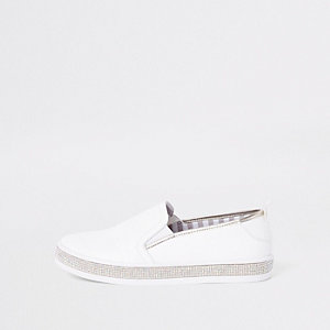 White diamante trim plimsolls