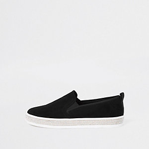 Black rhinestone sole trim plimsolls