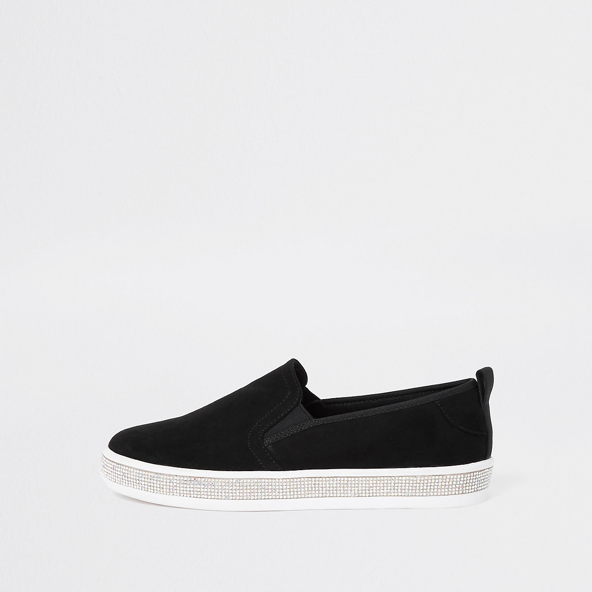 Black diamante sole trim plimsolls