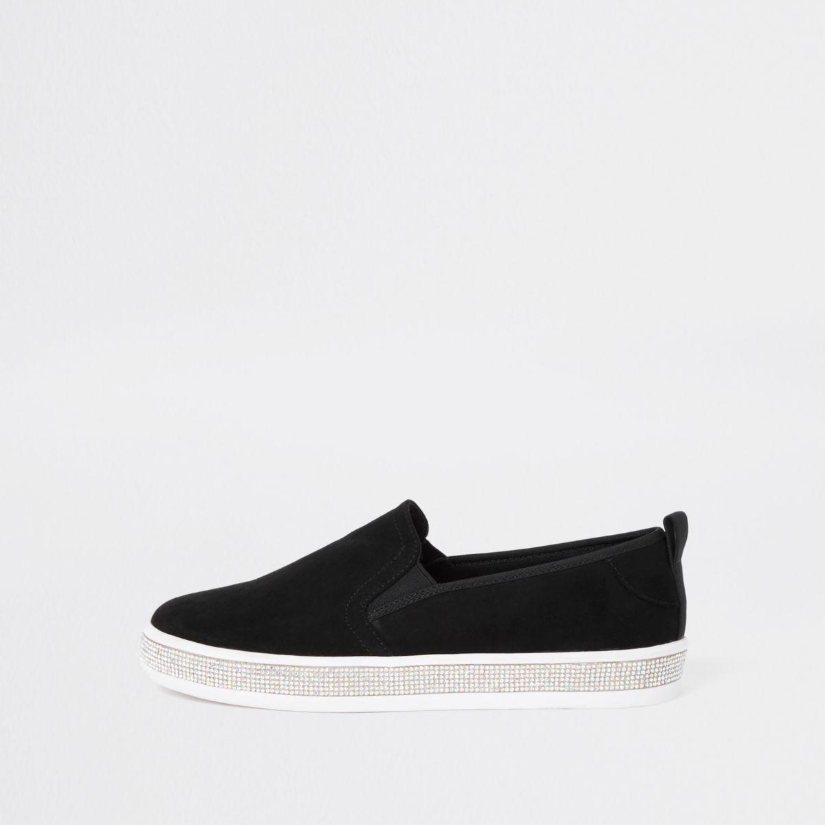 Black rhinestone sole trim plimsolls