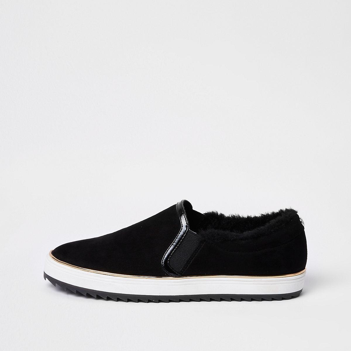 Black faux fur lined slip on plimsolls