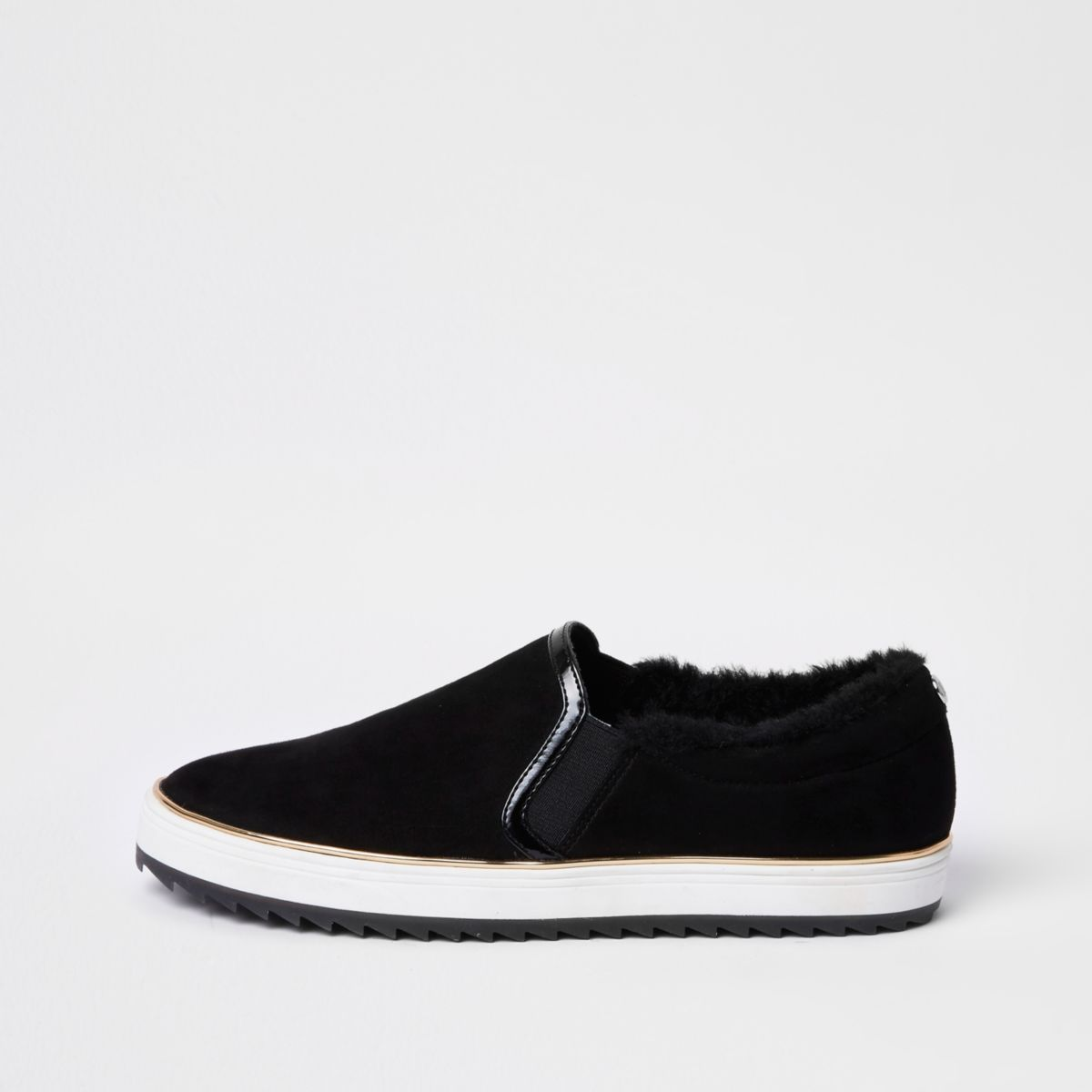 Black faux fur lined slip on plimsolls