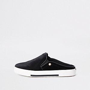Black slip on velvet plimsolls