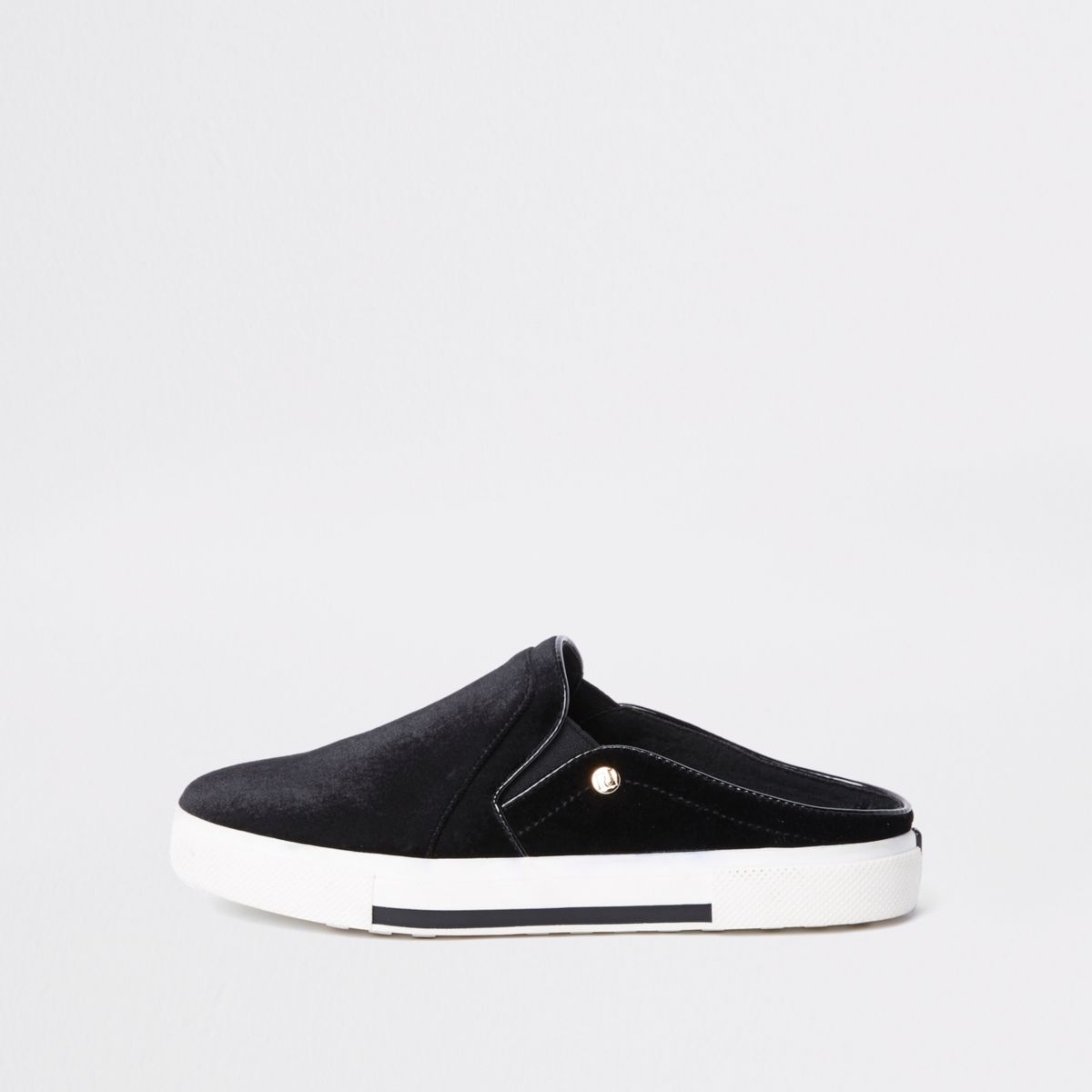 Black slip on velvet plimsolls