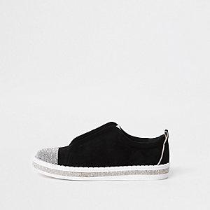 Schwarze, strassverzierte Sneakers