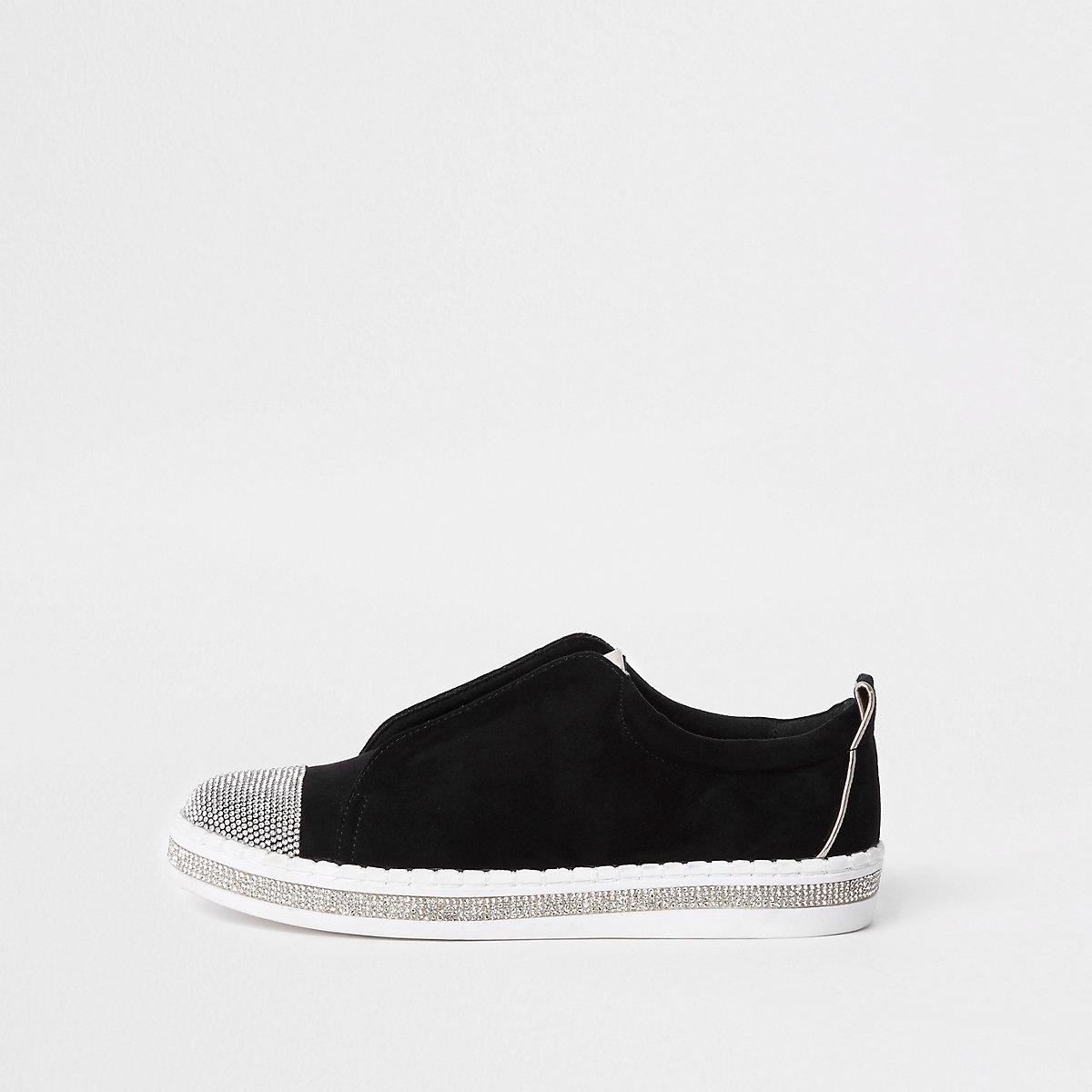 Baskets noires ornées de strass