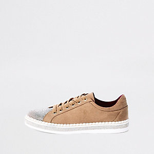 Beige glitter lace-up sneakers