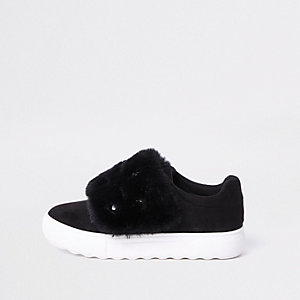 Black faux fur gem trainers