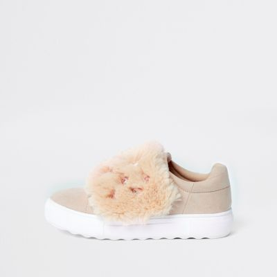 Pink Faux Fur Gem Velcro Trainers by River Island