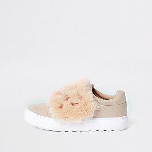 Pink faux fur gem velcro trainers