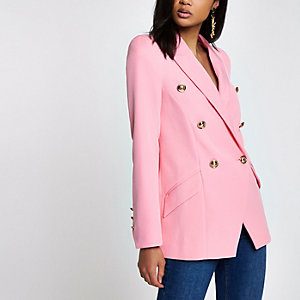 Pink double breasted tux jacket