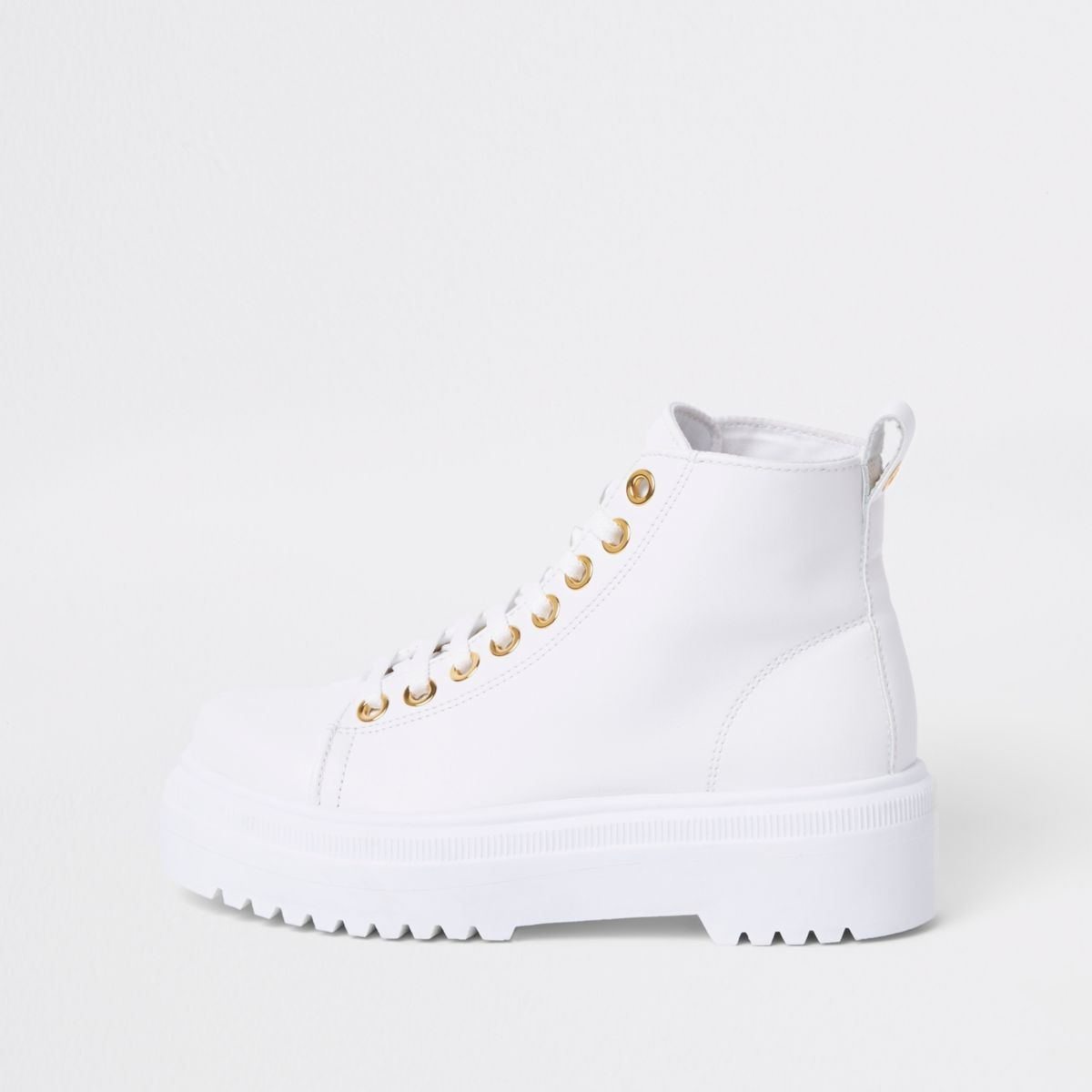 White chunky digger lace up boots