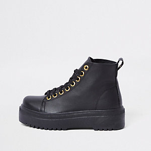 Black chunky digger lace up boots