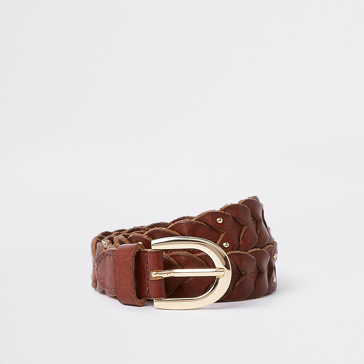 Brown leather stud plaited jeans belt