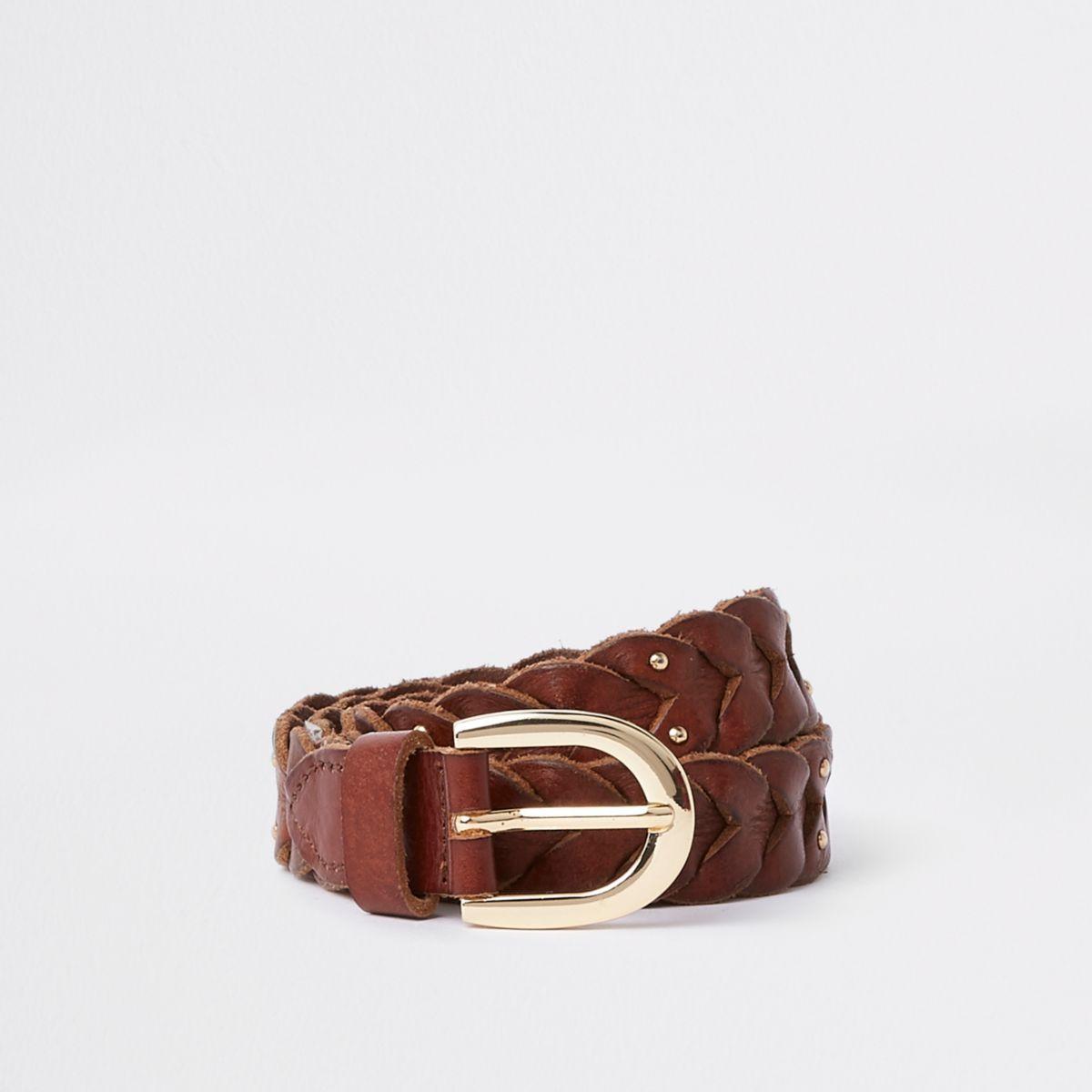 Brown leather stud plaited jeans belt
