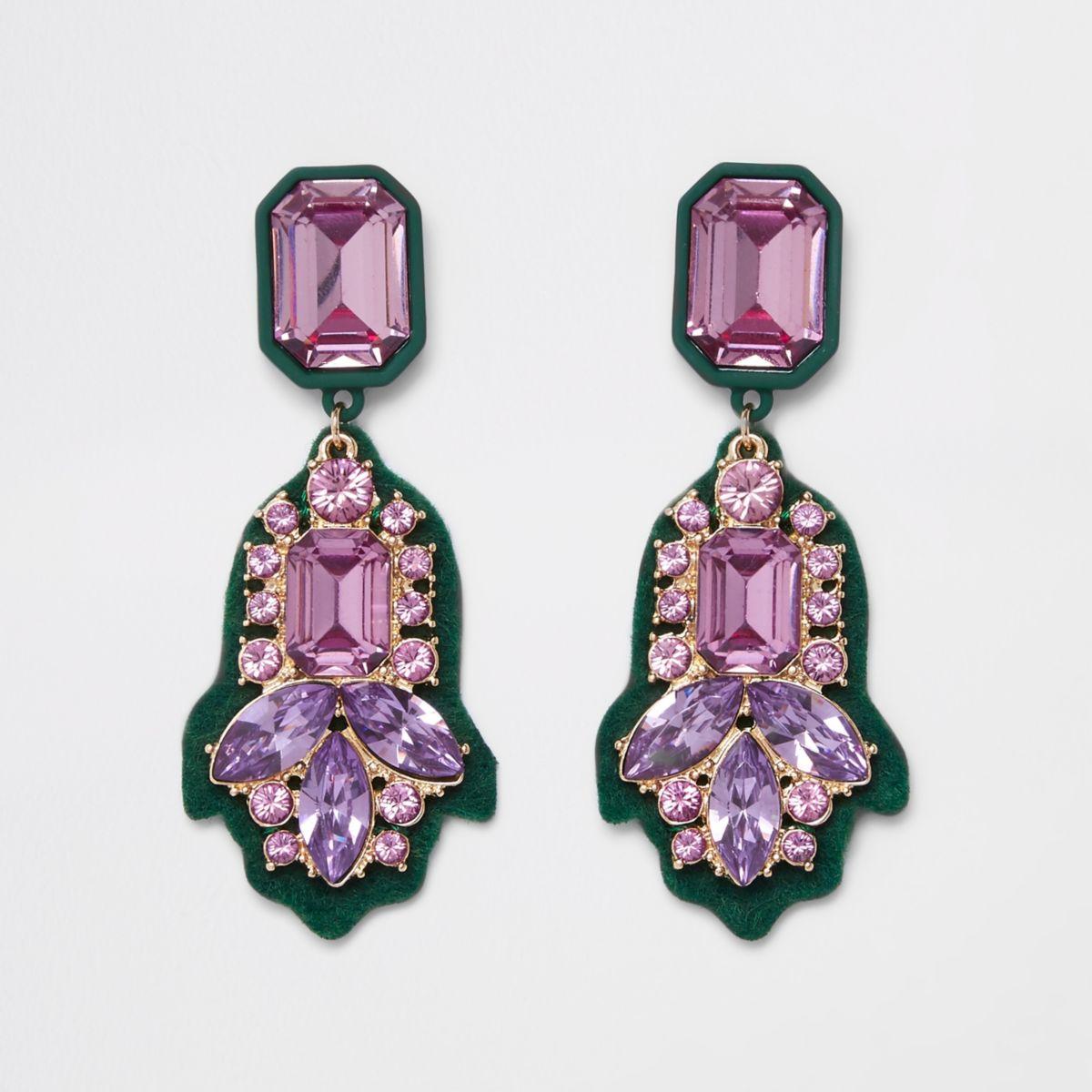 Green felt back purple jewel drop earrings