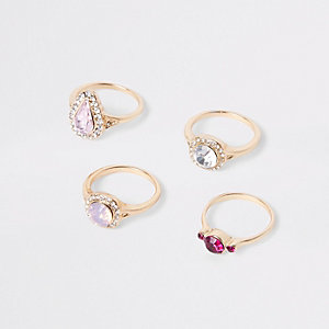 Gold tone jewel ring multipack