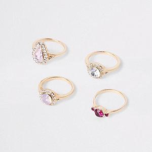 Gold tone jewel ring multipack