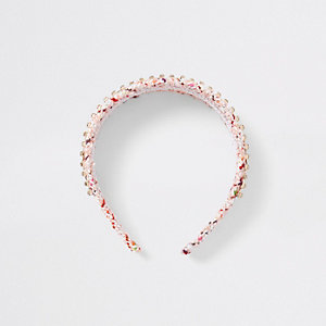 Pink print diamante embroidered headband