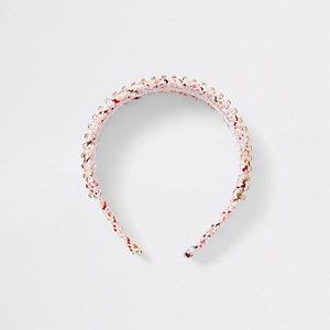 Serre-tête imprimé rose brodé à strass