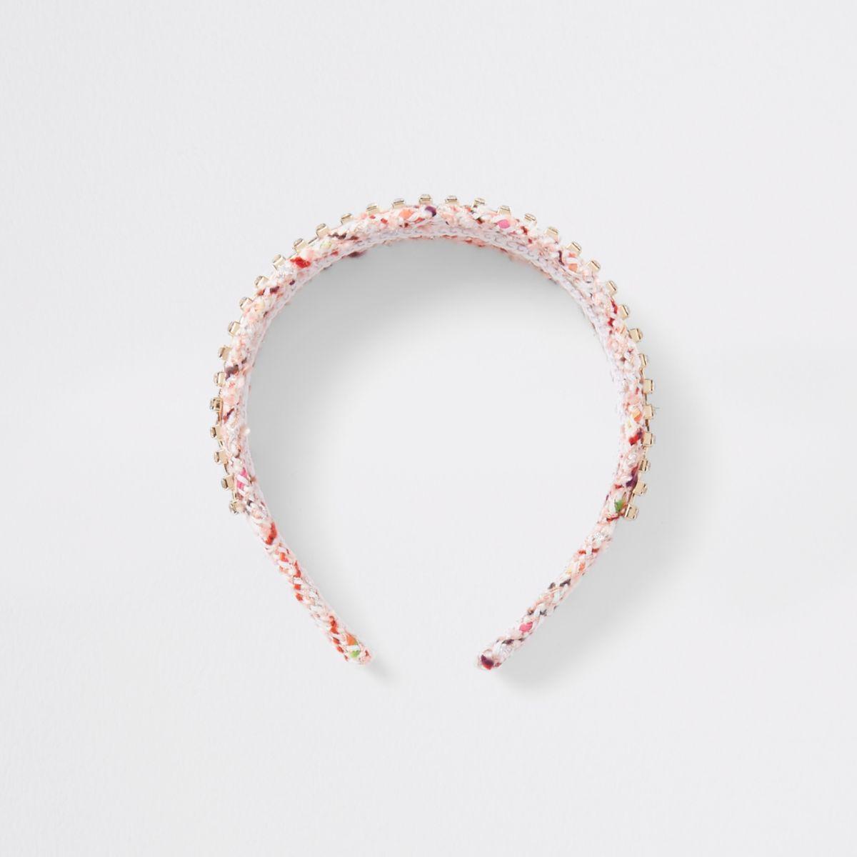 Pink print diamante embroidered headband